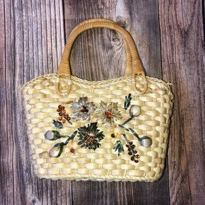 Floral small basket bag with wooden handles